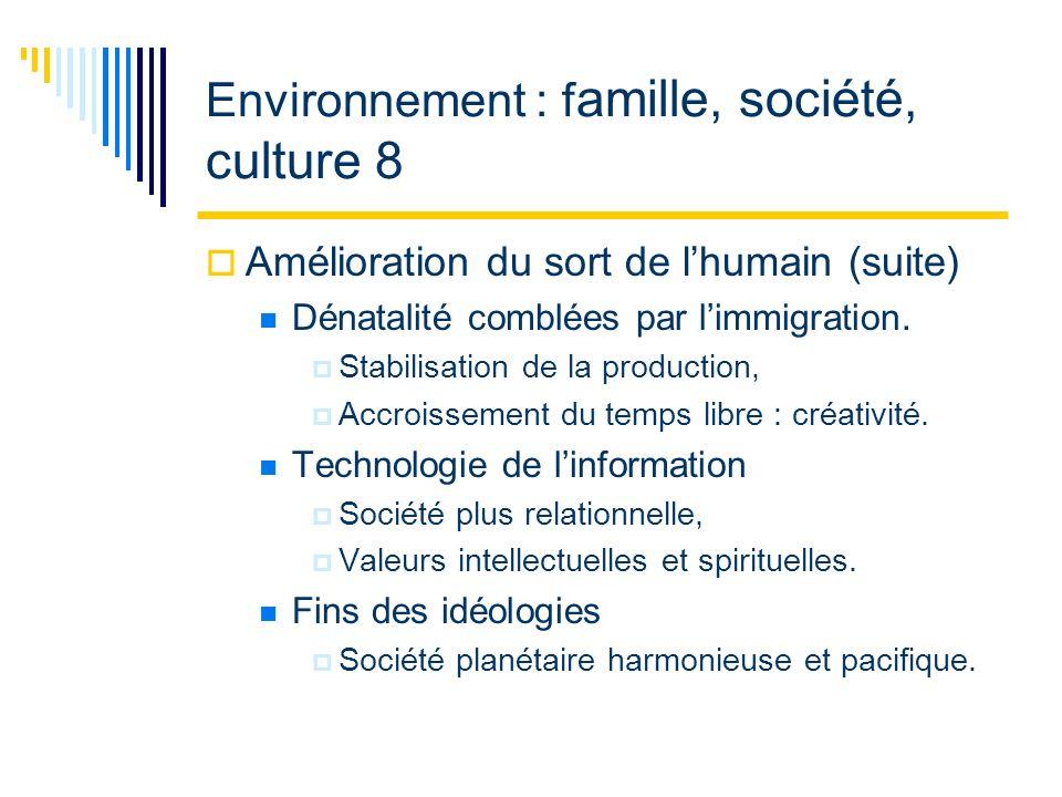 Environnement : f amille, société, culture 8 Amélioration du sort de lhumain (suite) Dénatalité comblées par limmigration.