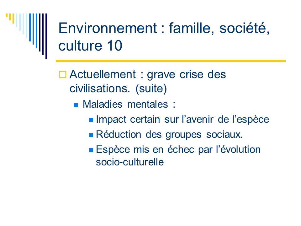 Environnement : famille, société, culture 10 Actuellement : grave crise des civilisations.