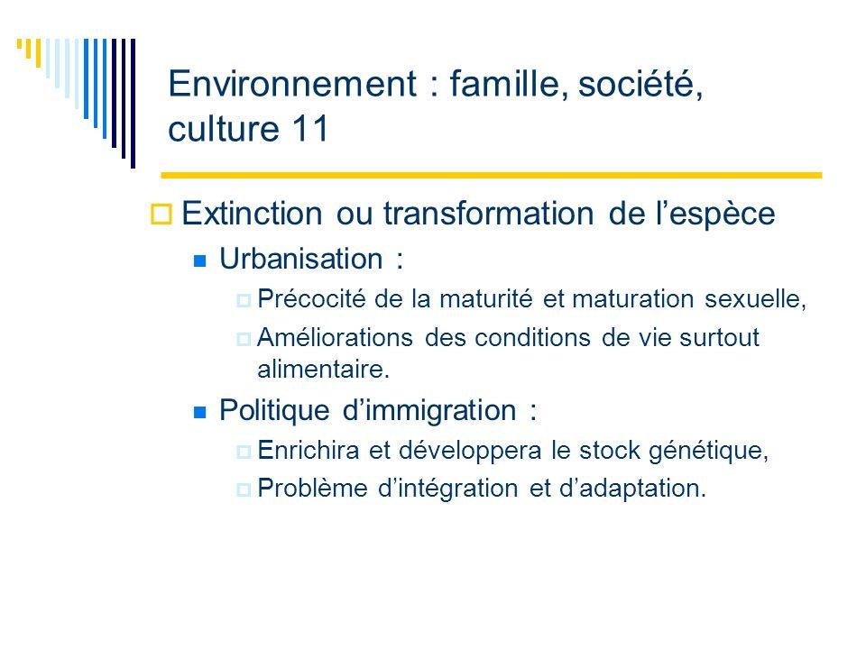 Environnement : famille, société, culture 11 Extinction ou transformation de lespèce Urbanisation : Précocité de la maturité et maturation sexuelle, Améliorations des conditions de vie surtout alimentaire.