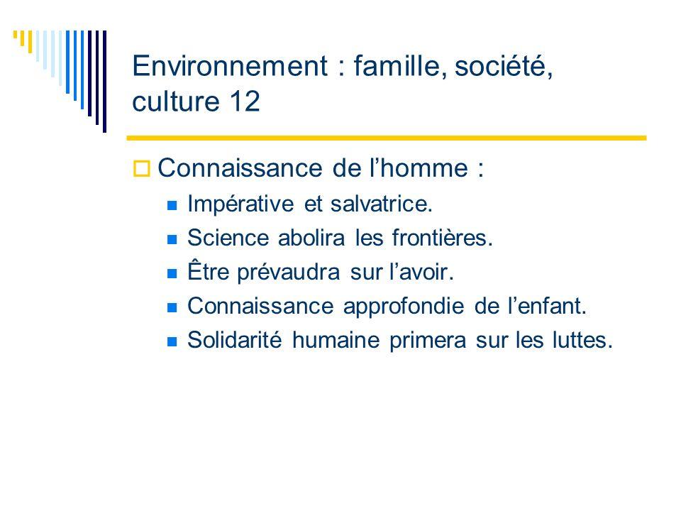 Environnement : famille, société, culture 12 Connaissance de lhomme : Impérative et salvatrice.