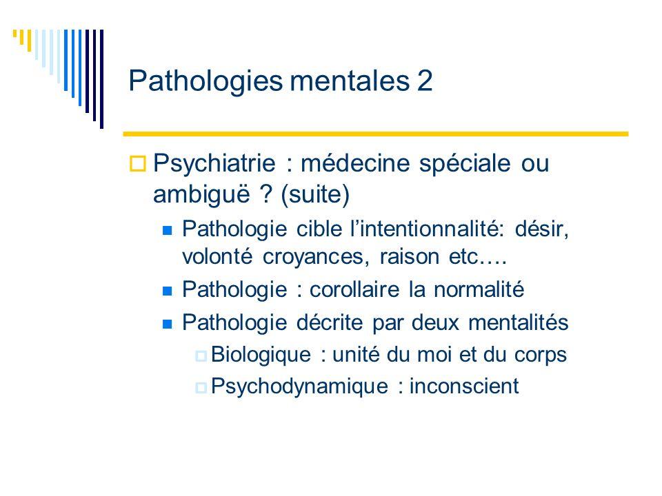 Pathologies mentales 2 Psychiatrie : médecine spéciale ou ambiguë .