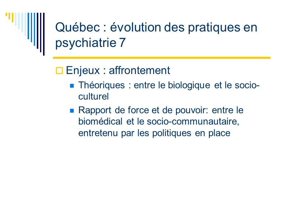 Québec : évolution des pratiques en psychiatrie 7 Enjeux : affrontement Théoriques : entre le biologique et le socio- culturel Rapport de force et de pouvoir: entre le biomédical et le socio-communautaire, entretenu par les politiques en place