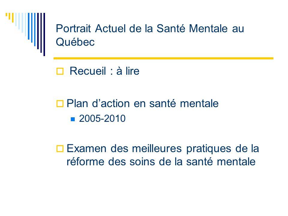 Portrait Actuel de la Santé Mentale au Québec Recueil : à lire Plan daction en santé mentale 2005-2010 Examen des meilleures pratiques de la réforme des soins de la santé mentale