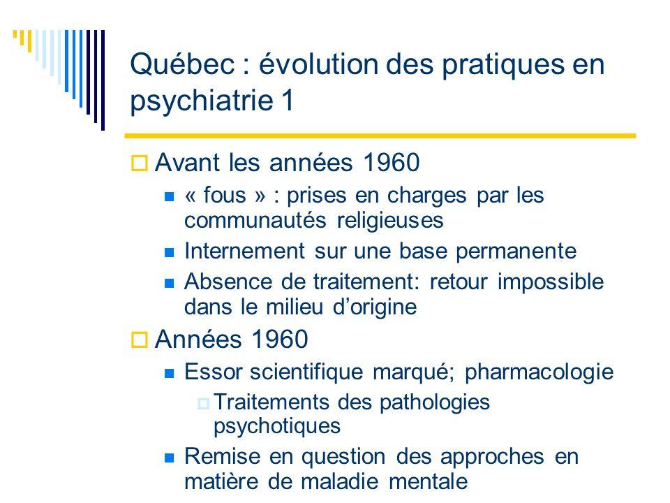 Québec : évolution des pratiques en psychiatrie 2 Réforme : émergence de trois mouvements De la psychiatrie à la communauté Remise en question de la psychiatrie classique Des procédés de traitements traditionnels