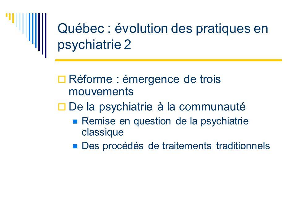 Québec : évolution des pratiques en psychiatrie 3 Réforme : émergence de trois mouvements (suite) Ouverture vers une psychiatrie communautaire Instauration de la psychiatrie de secteur Propulse le mouvement communautaire Rapprochement entre intervenants et milieu de vie des malades mentaux Réintégration des malades dans leur lieu dorigine
