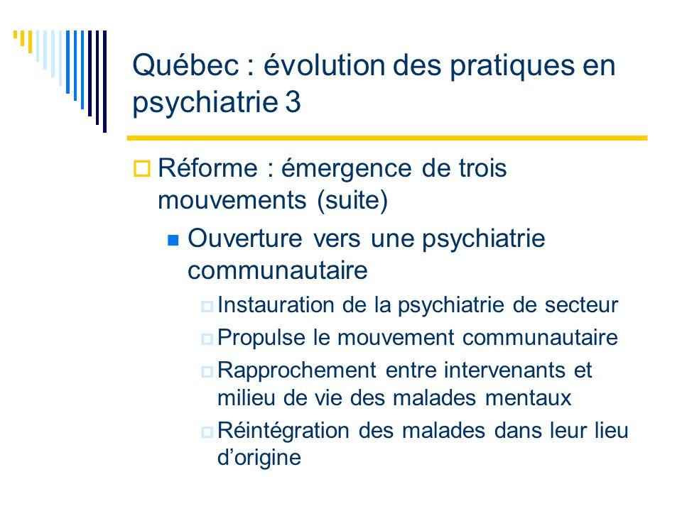 Orientations pour la transformations des services en santé mentale 3 Enjeux et défis : éthiques Définition de la maladie mentale Rapport de force entre linstitution et la communauté Contexte économique et les détresses psychologiques Traitement de la maladie tel que donné aujourdhui Espaces de résistances des intervenants eux-mêmes
