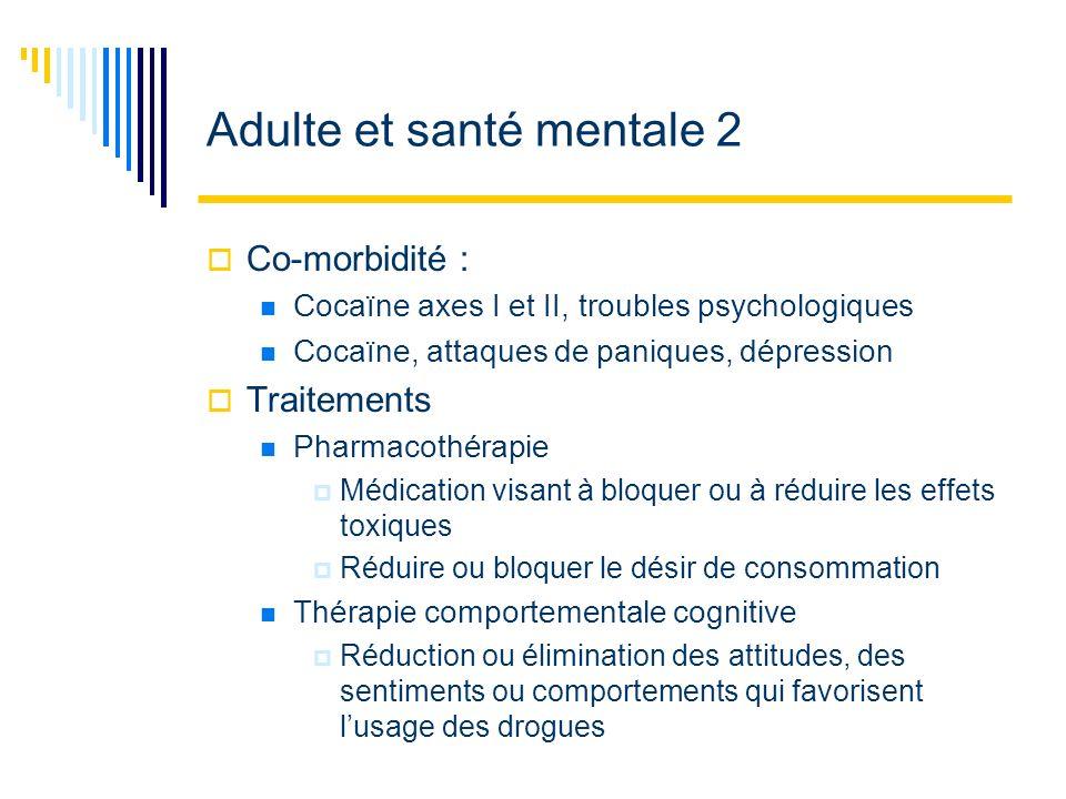 Adulte et santé mentale 2 Co-morbidité : Cocaïne axes I et II, troubles psychologiques Cocaïne, attaques de paniques, dépression Traitements Pharmacot