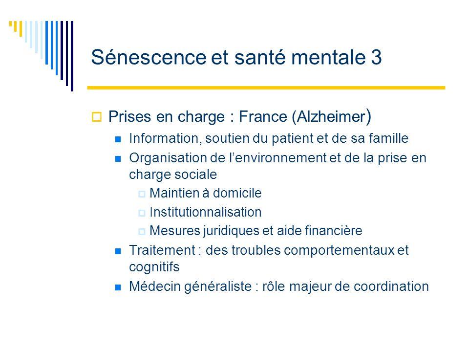 Sénescence et santé mentale 3 Prises en charge : France (Alzheimer ) Information, soutien du patient et de sa famille Organisation de lenvironnement e