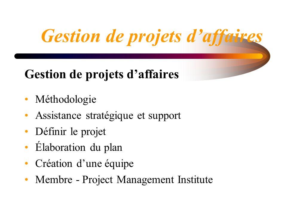 Gestion de projets daffaires Méthodologie Assistance stratégique et support Définir le projet Élaboration du plan Création dune équipe Membre - Project Management Institute