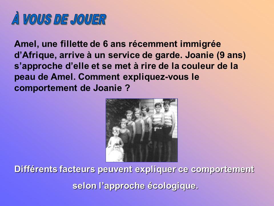 LE MACROSYSTÈME Exemples Ensemble des croyances, des valeurs, des normes et des idéologies dune communauté Individualisme Rôles sexuels Néolibéralisme