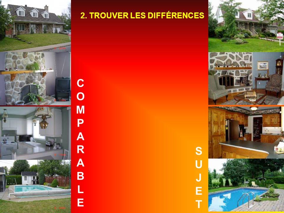 SUJETSUJET COMPARABLECOMPARABLE 2. TROUVER LES DIFFÉRENCES