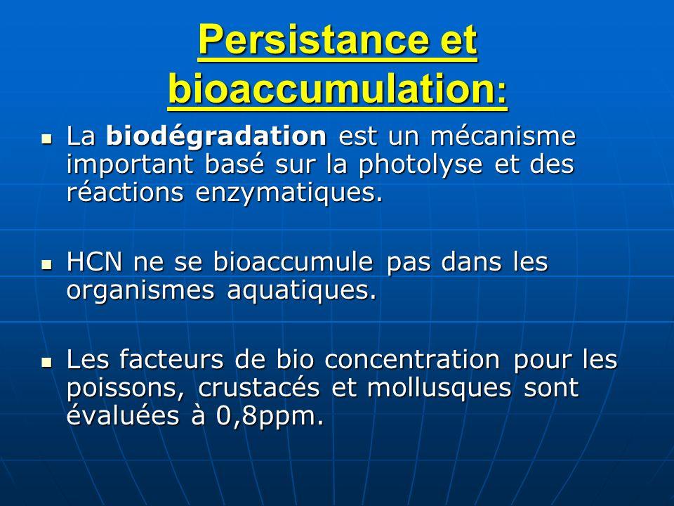 Persistance et bioaccumulation : La biodégradation est un mécanisme important basé sur la photolyse et des réactions enzymatiques. La biodégradation e