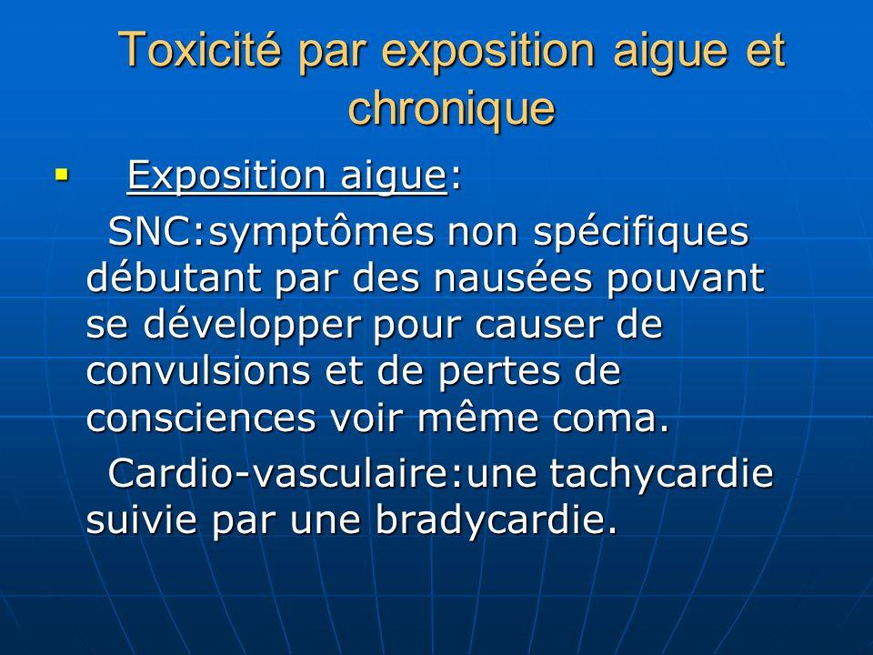 Toxicité par exposition aigue et chronique E Exposition aigue: SNC:symptômes non spécifiques débutant par des nausées pouvant se développer pour cause