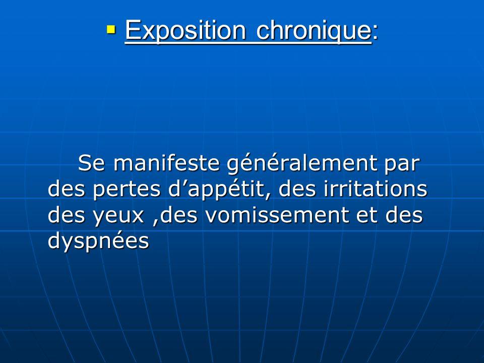 Exposition chronique: Exposition chronique: Se manifeste généralement par des pertes dappétit, des irritations des yeux,des vomissement et des dyspnée