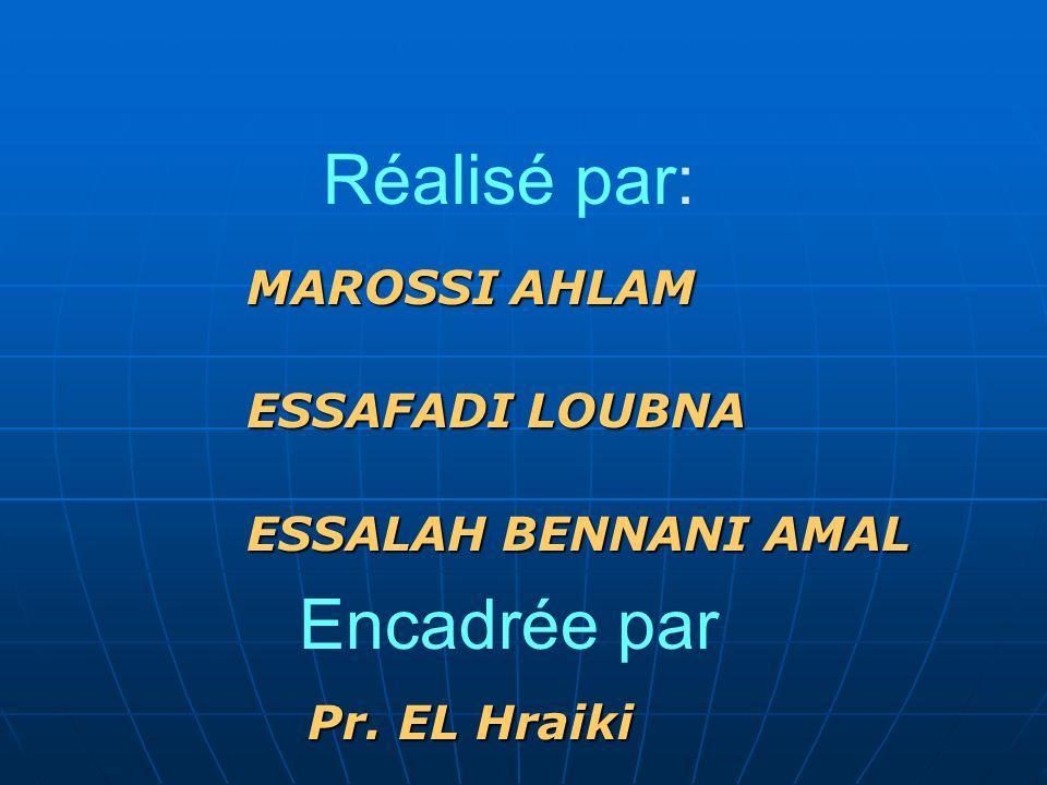 Réalisé par: MAROSSI AHLAM ESSAFADI LOUBNA ESSALAH BENNANI AMAL Encadrée par Pr. EL Hraiki
