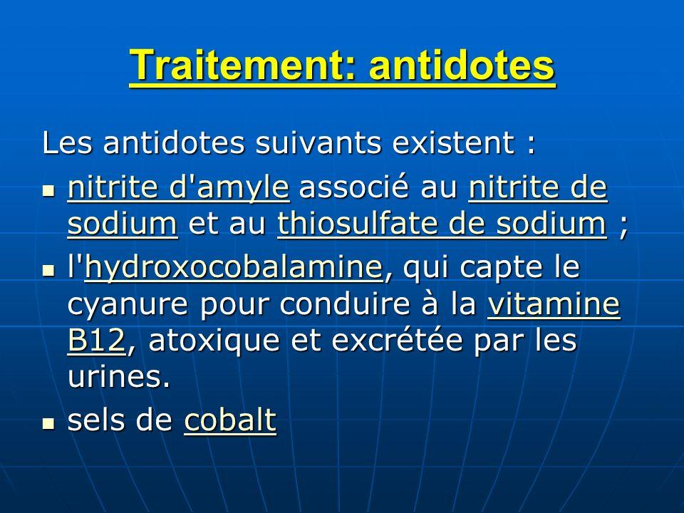 Traitement: antidotes Les antidotes suivants existent : nitrite d'amyle associé au nitrite de sodium et au thiosulfate de sodium ; nitrite d'amyle ass