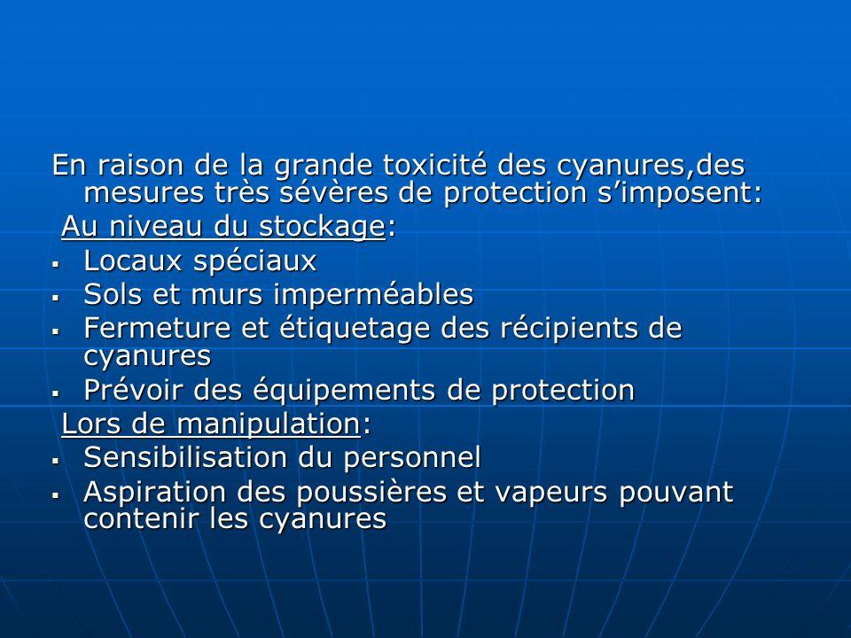 En raison de la grande toxicité des cyanures,des mesures très sévères de protection simposent: Au niveau du stockage: Au niveau du stockage: Locaux sp