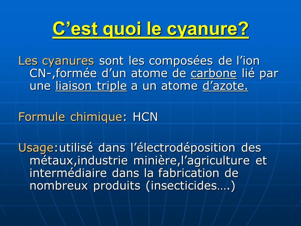 Cest quoi le cyanure? Les cyanures sont les composées de lion CN-,formée dun atome de carbone lié par une liaison triple a un atome dazote. Formule ch
