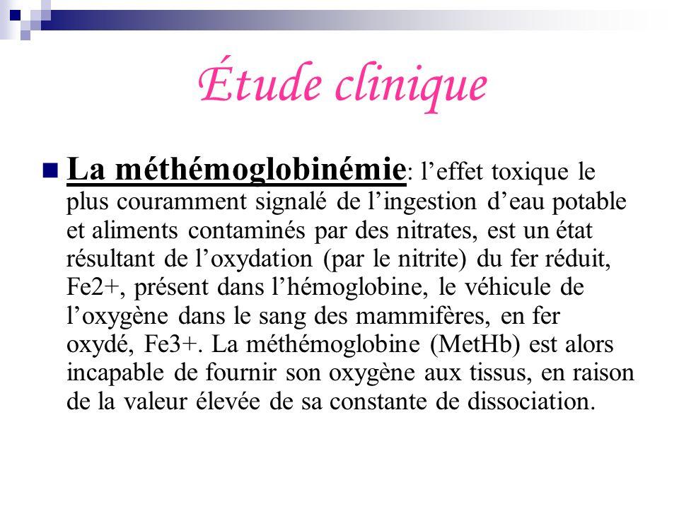 Étude clinique La méthémoglobinémie : leffet toxique le plus couramment signalé de lingestion deau potable et aliments contaminés par des nitrates, es