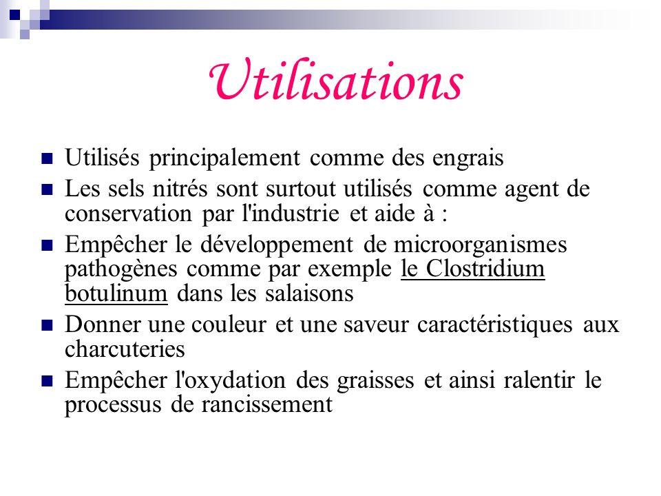 Utilisations Utilisés principalement comme des engrais Les sels nitrés sont surtout utilisés comme agent de conservation par l'industrie et aide à : E