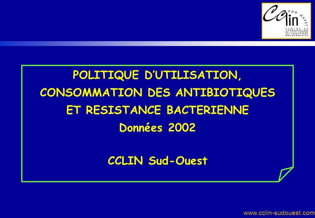 www.cclin-sudouest.com POLITIQUE DUTILISATION, CONSOMMATION DES ANTIBIOTIQUES ET RESISTANCE BACTERIENNE Données 2002 CCLIN Sud-Ouest