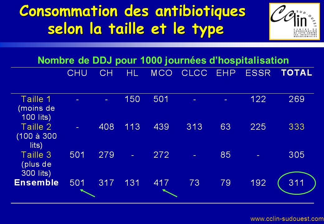 www.cclin-sudouest.com Consommation des antibiotiques selon la taille et le type Nombre de DDJ pour 1000 journées dhospitalisation