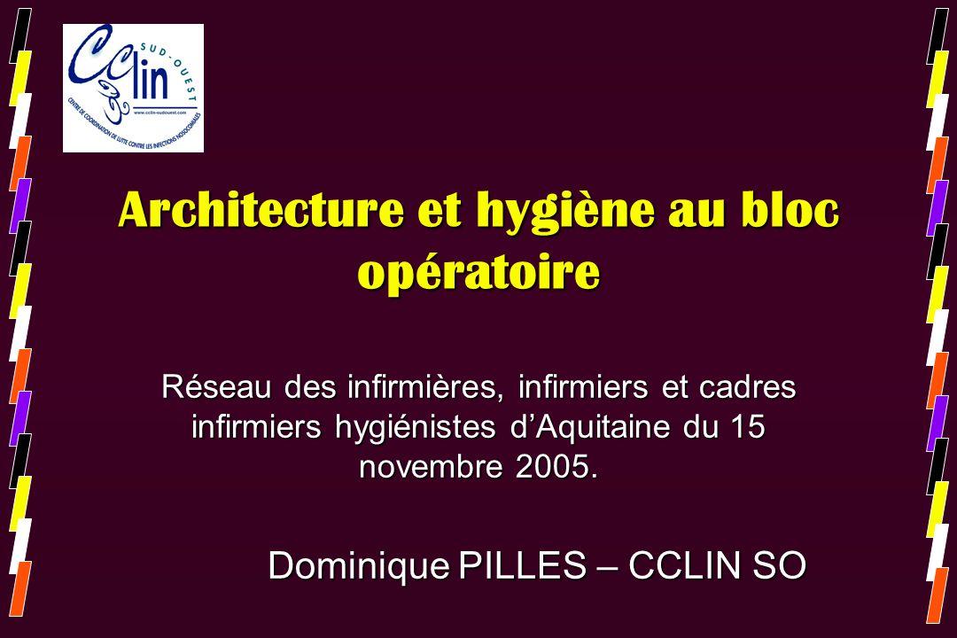 Architecture et hygiène au bloc opératoire Réseau des infirmières, infirmiers et cadres infirmiers hygiénistes dAquitaine du 15 novembre 2005. Dominiq