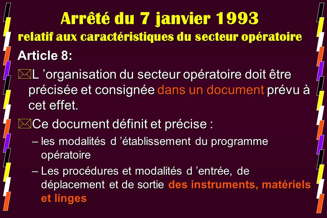 Arrêté du 7 janvier 1993 relatif aux caractéristiques du secteur opératoire Article 8: *L organisation du secteur opératoire doit être précisée et con