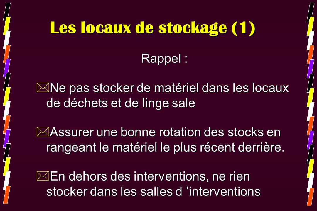 Les locaux de stockage (1) Rappel : *Ne pas stocker de matériel dans les locaux de déchets et de linge sale *Assurer une bonne rotation des stocks en