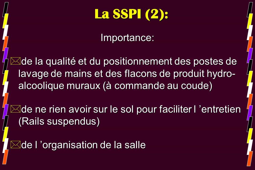 La SSPI (2): Importance: *de la qualité et du positionnement des postes de lavage de mains et des flacons de produit hydro- alcoolique muraux (à comma