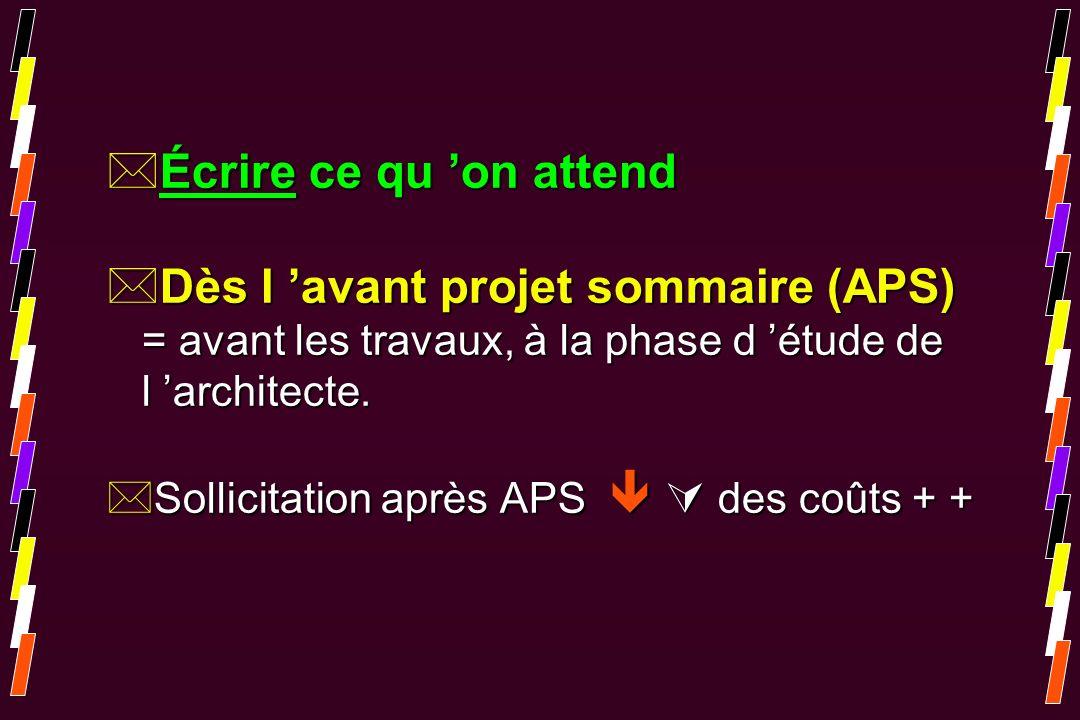 *Écrire ce qu on attend *Dès l avant projet sommaire (APS) = avant les travaux, à la phase d étude de l architecte. *Sollicitation après APS des coûts
