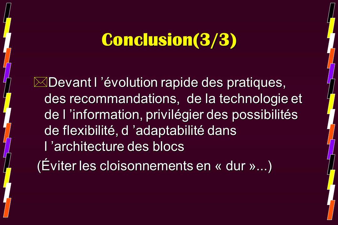 Conclusion(3/3) *Devant l évolution rapide des pratiques, des recommandations, de la technologie et de l information, privilégier des possibilités de