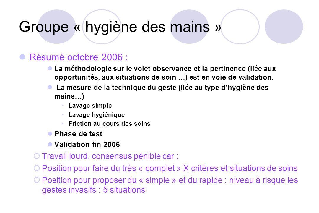 Groupe « hygiène des mains » Résumé octobre 2006 : La méthodologie sur le volet observance et la pertinence (liée aux opportunités, aux situations de