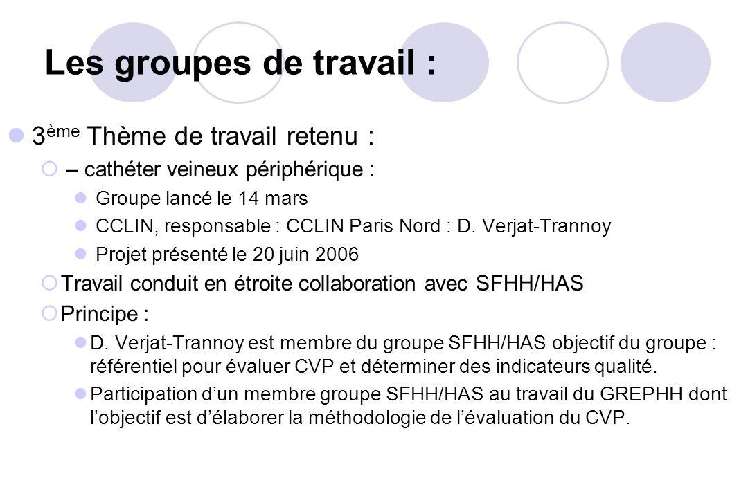 3 ème Thème de travail retenu : – cathéter veineux périphérique : Groupe lancé le 14 mars CCLIN, responsable : CCLIN Paris Nord : D. Verjat-Trannoy Pr