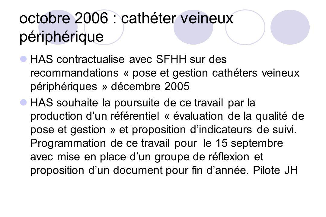 octobre 2006 : cathéter veineux périphérique HAS contractualise avec SFHH sur des recommandations « pose et gestion cathéters veineux périphériques »