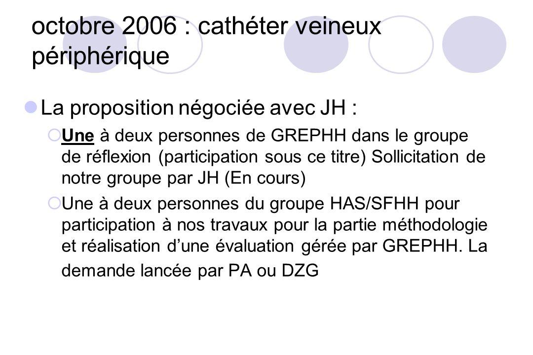 octobre 2006 : cathéter veineux périphérique La proposition négociée avec JH : Une à deux personnes de GREPHH dans le groupe de réflexion (participati