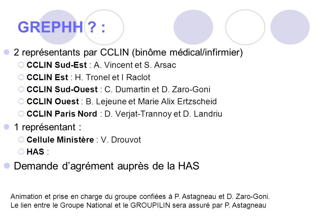 GREPHH ? : 2 représentants par CCLIN (binôme médical/infirmier) CCLIN Sud-Est : A. Vincent et S. Arsac CCLIN Est : H. Tronel et I Raclot CCLIN Sud-Oue