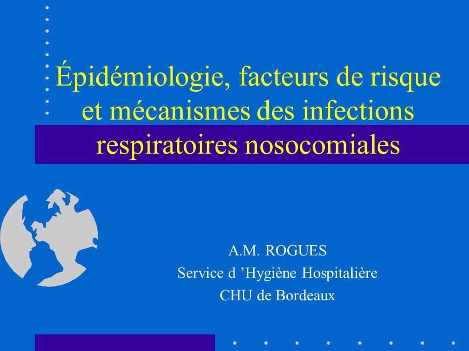 Infections respiratoires nosocomiales Deux types suivant le délai de survenue Précoces avant J5 germes commensaux du patient : S pneumoniae, H influenzae, Staph méti-S, E.