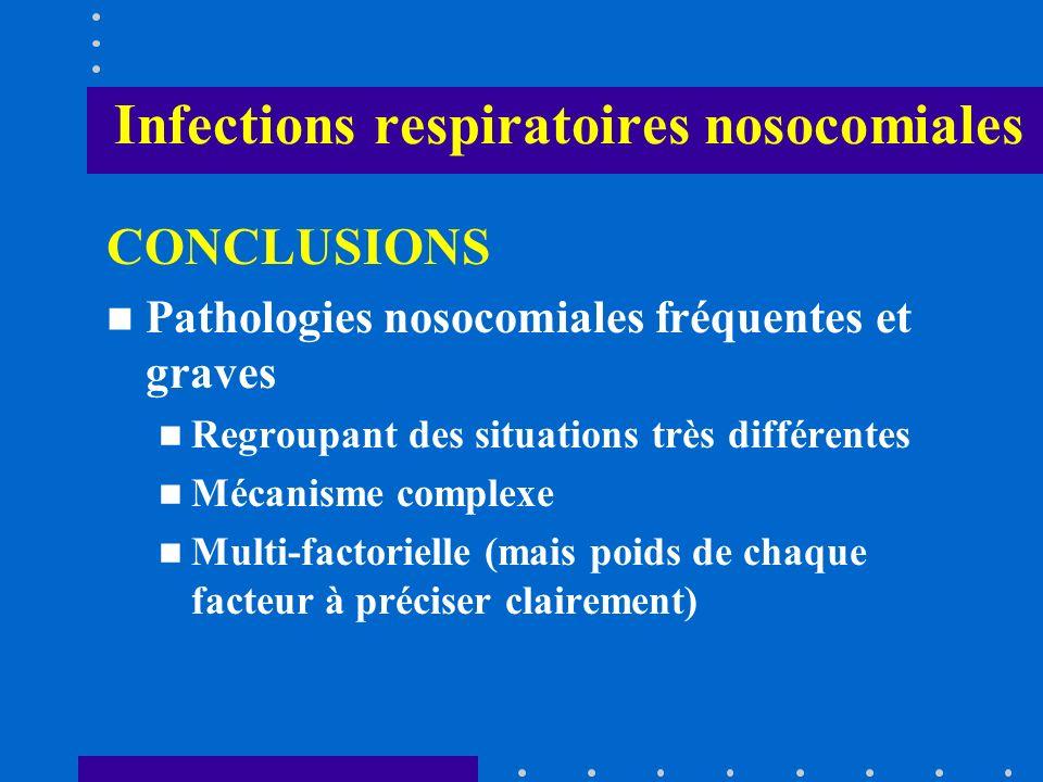 Infections respiratoires nosocomiales CONCLUSIONS Pathologies nosocomiales fréquentes et graves Regroupant des situations très différentes Mécanisme c