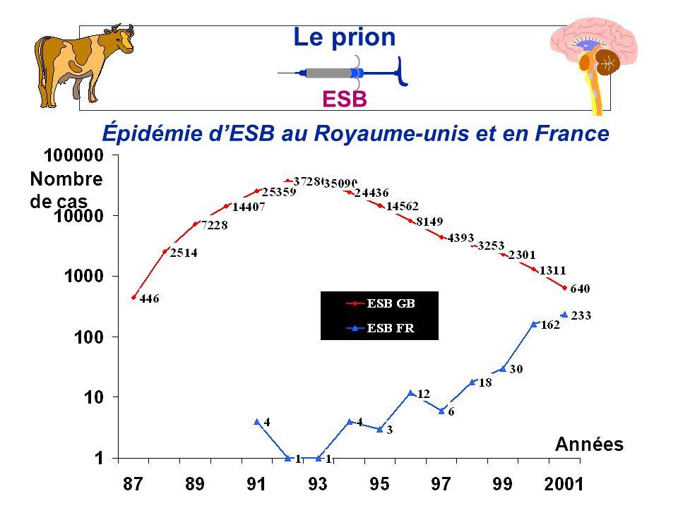 Épidémie dESB au Royaume-unis et en France Le prion ESB Années Nombre de cas