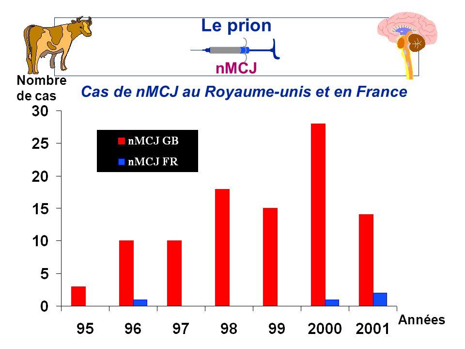 Cas de nMCJ au Royaume-unis et en France Le prion nMCJ Années Nombre de cas