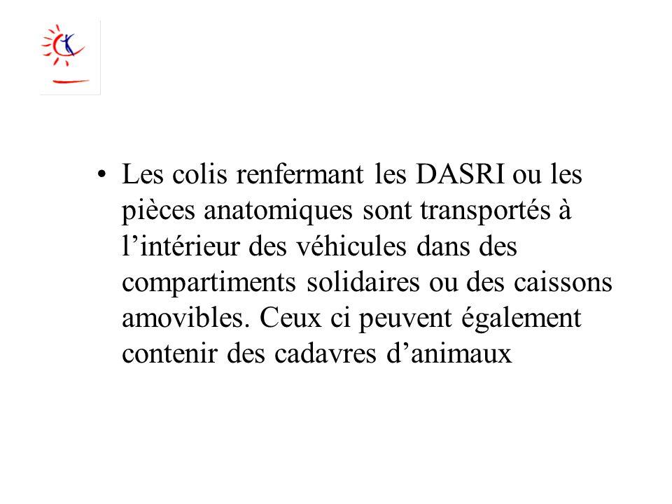 Les colis renfermant les DASRI ou les pièces anatomiques sont transportés à lintérieur des véhicules dans des compartiments solidaires ou des caissons