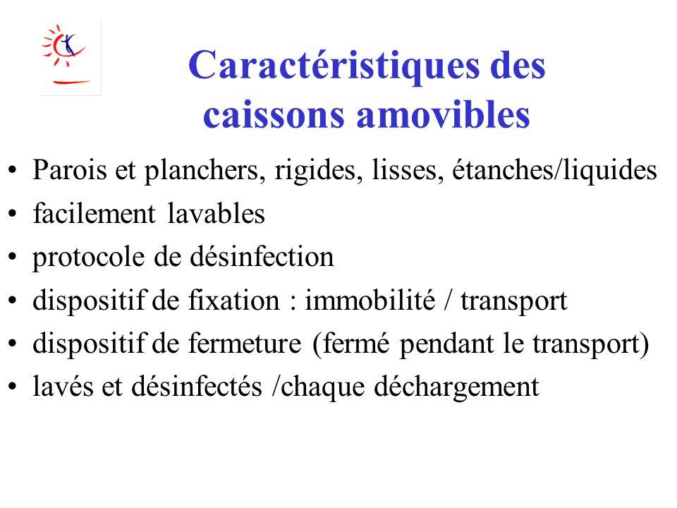 Caractéristiques des caissons amovibles Parois et planchers, rigides, lisses, étanches/liquides facilement lavables protocole de désinfection disposit