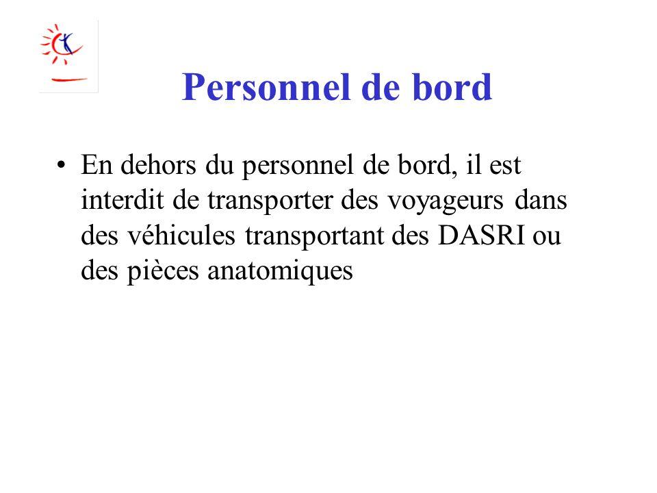 Personnel de bord En dehors du personnel de bord, il est interdit de transporter des voyageurs dans des véhicules transportant des DASRI ou des pièces