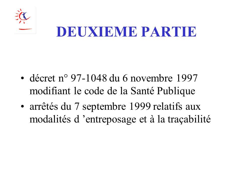 DEUXIEME PARTIE décret n° 97-1048 du 6 novembre 1997 modifiant le code de la Santé Publique arrêtés du 7 septembre 1999 relatifs aux modalités d entre