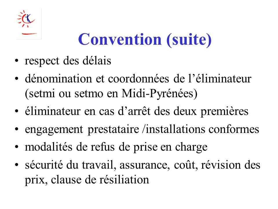 Convention (suite) respect des délais dénomination et coordonnées de léliminateur (setmi ou setmo en Midi-Pyrénées) éliminateur en cas darrêt des deux