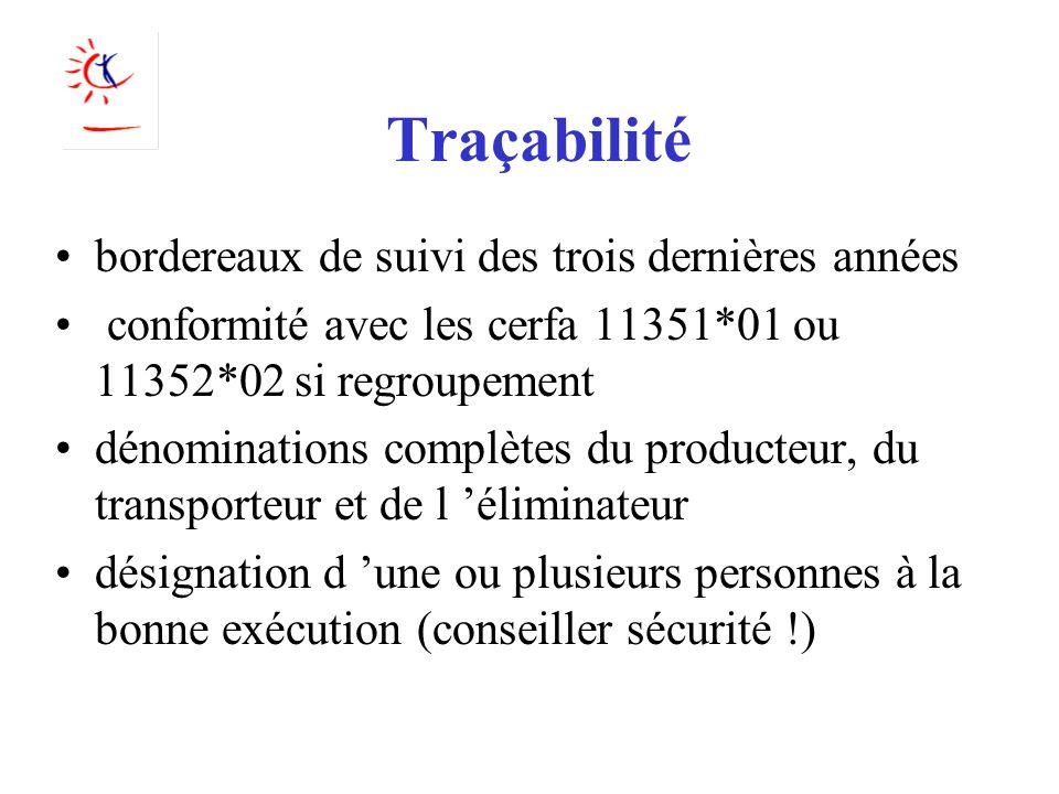 Traçabilité bordereaux de suivi des trois dernières années conformité avec les cerfa 11351*01 ou 11352*02 si regroupement dénominations complètes du p