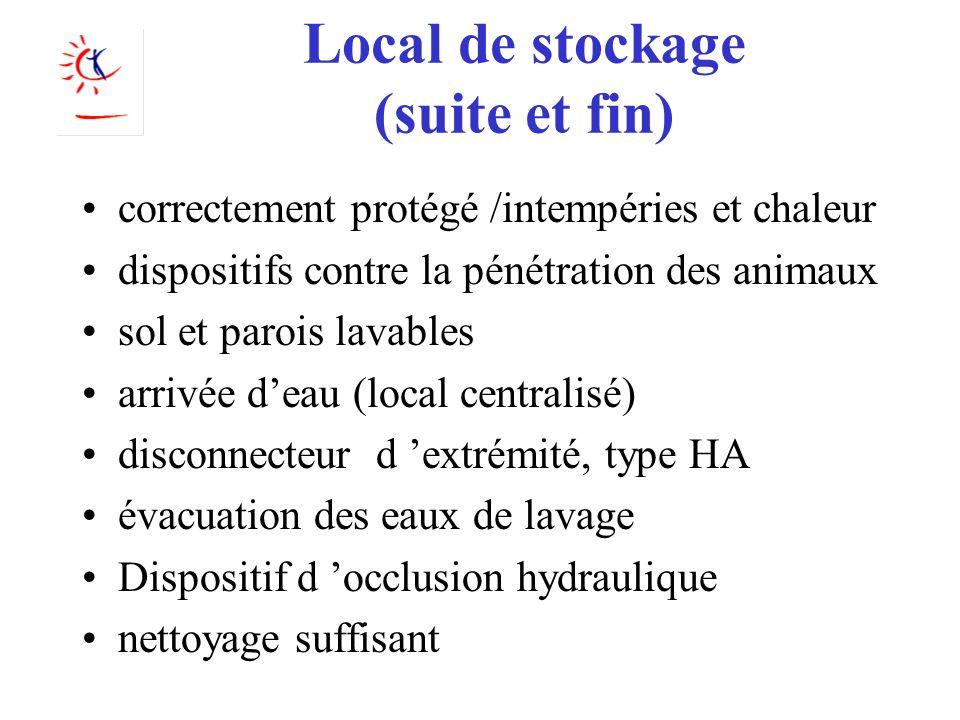Local de stockage (suite et fin) correctement protégé /intempéries et chaleur dispositifs contre la pénétration des animaux sol et parois lavables arr