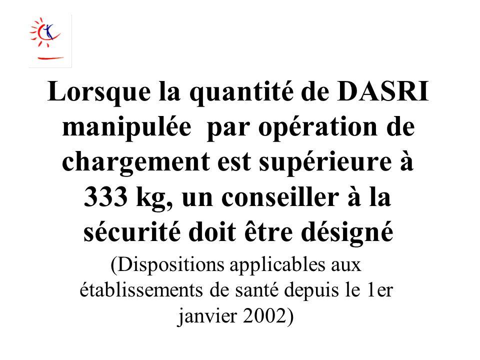 Lorsque la quantité de DASRI manipulée par opération de chargement est supérieure à 333 kg, un conseiller à la sécurité doit être désigné (Disposition