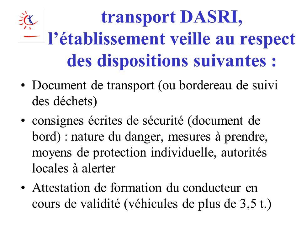 transport DASRI, létablissement veille au respect des dispositions suivantes : Document de transport (ou bordereau de suivi des déchets) consignes écr